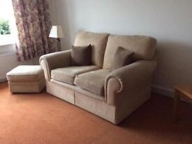 2seater sofa with chair and pouffe