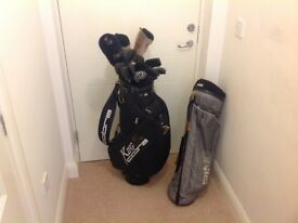 Full set of golf clubs and bags