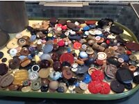 Vintage buttons in very old Ovaltine tin