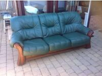 3 seater settee green leather FREE UPON COLLECTION