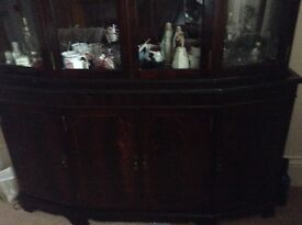 Mahogany two piece display wall unit.