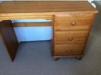 Pine Furniture sold as lot or separately. Desk, Bookcase, Chest of Drawers.