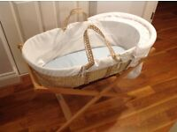 Mamas and Papas Moses basket with white liner and natural stand with fitted sheets