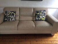 Cream. Sofa. Leather