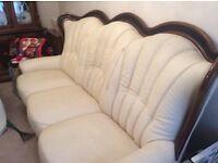 Italian leather Settee & 2 chairs