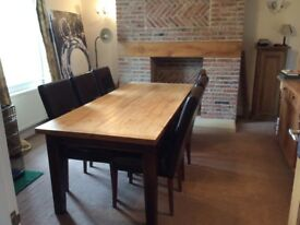 Solid pine table and 6 leather chairs