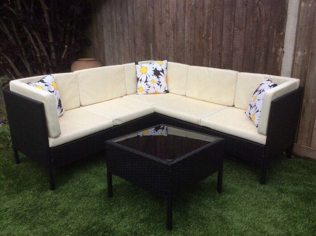 Corner Rattan Garden Set With Glass Top Table   in ...