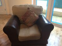 Beautiful Dark Brown 3 Piece Leather Suite With Large Cube Stool