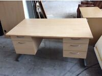 Beech rectangle desk with two fitted peds