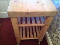 Butchers type chopping trolley