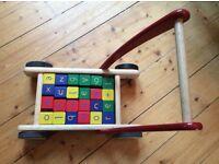 John Lewis wooden walker push toy with blocks