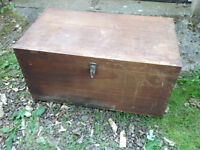 VERY OLD CAMPHOR WOOD CHEST WITH BRASS TYPE CATCH