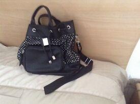 M & S Black leather look Bag
