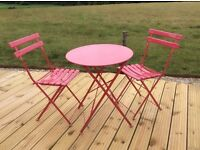 Cafe style table & chairs summer pink . 2 sets available