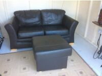 2 seater leather sofa and foot stall