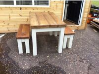 Reclaimed Timber Table and Two benches, painted or waxed