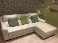 Sofa with chaise in Ivory leather