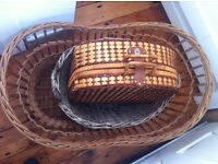 3 Large Vintage Wicker Baskets, Home Decor, Garden, Shop, Craft Fair, Laundry