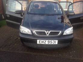 Vauxhall Zafira, black 7 seater,2004, 94000 miles, MOT to July 2018.