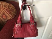 Clarks Dark Red Real Leather Hand bag very good condition. lots of pockets