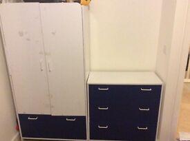 Wardrobe and 3 drawer chest blue/white
