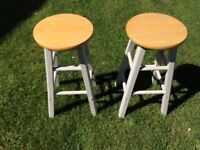 Two Good Quality Solid Wood Kitchen Stools, Very good condition, £10