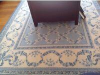 Blue and white Wilton rug