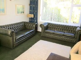 2 3SEATER LEATHER CHESTERFIELD SOFAS in very good condition
