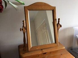 Honey Pine dressing table mirror. Good condition.