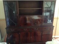 Free wall unit, dark wood with drinks cabinet and glass display,.