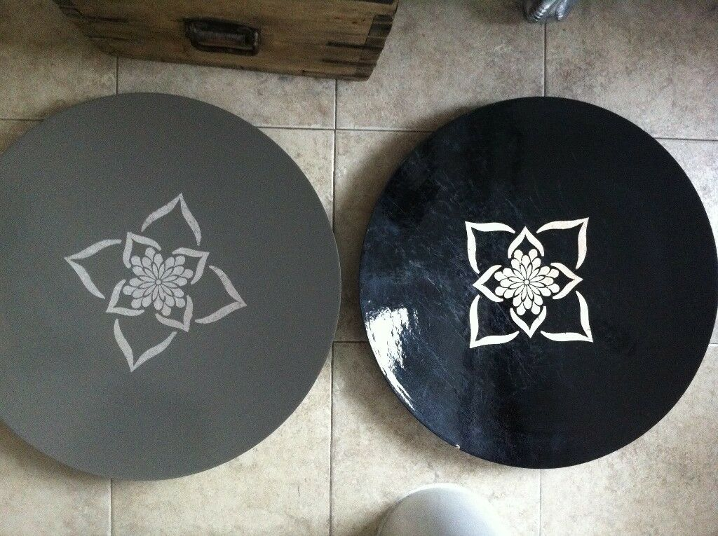 2 large ethnic decorative distressed mandala trays plates for Dining chairs t k maxx