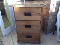 Antique pine chest of drawers / side table