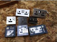 Job lot (8) used and new brushed chrome sockets TV power light slim slimline