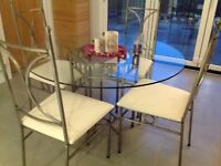 Modern Natural Steel wrought iron dining room table & 4 chairs