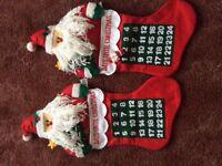 2 Santa stocking advent calendars