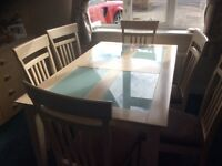 Light wood and glass dining table and 6 matching chairs