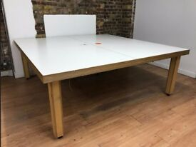 Large laminate top birch ply work tables x 6 available (210 x 210 x 75) with cable hole £100 each