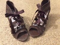 Brown leather lace up sandals size 3
