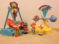 Happyland Funfair rocket ride pirate ship swing boat and some circus people Early Learning Centre