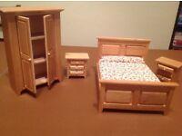 Wooden dollls house bedroom furniture