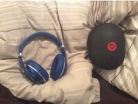 blue WIRELESS bluetooth studio dre beats over ear headphones, like new, quick sale available