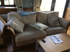 Three seater sofa and two armchairs