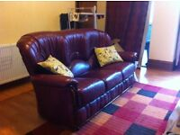 Red leather 3 piece suite