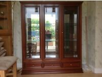 GPlan.Display Cabinet.Glass sides and front.Mirrored back.Two glass shelves.Lights.