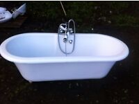 Ex display free standing acrylic roll top bath with taps & shower head