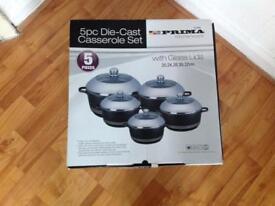 5pc die-cast casserole set