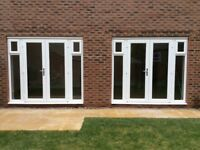 UPVC DOUBLE GLAZED FRENCH WINDOWS &SIDE PANEL FANLIGHT WINDOWS X 2