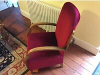 Old Oak armchair. Upholstered in red velvet. Good Condition. Art Deco Style.