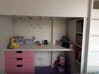 Children's loft bed with 3 draw desk and 2door built in wardrobe