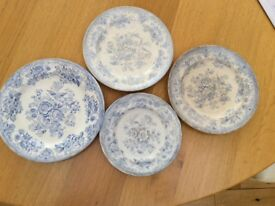 "4 VINTAGE PLATES IN THE ASIATIC DESIGN I. 10"" 2. 9"" 1. 8"" (same design different makers)"